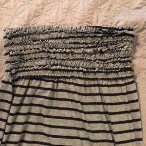 Striped, long, casual, strap/sleeveless dress